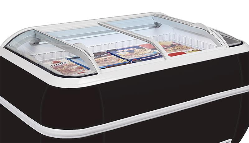 Supermarket freezers and coolers in black and grey
